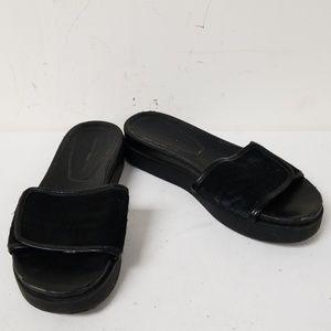 Zara Collection Black Faux Fur Slide On Sandals